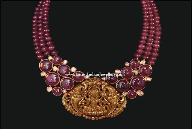 Cabochon Ruby Beads Necklace