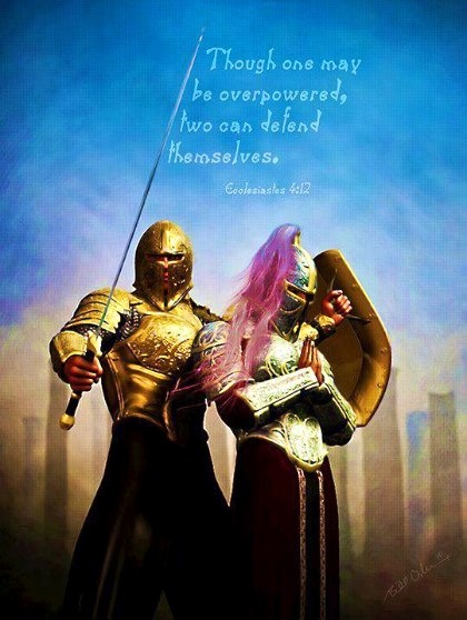 TEAMWORK ~ I love this ! Ecclesiastes 4:12 And though a man might prevail against him who is alone, two will withstand him. A threefold cord is not quickly broken. & Ephesians 4:12-13 (AMP)