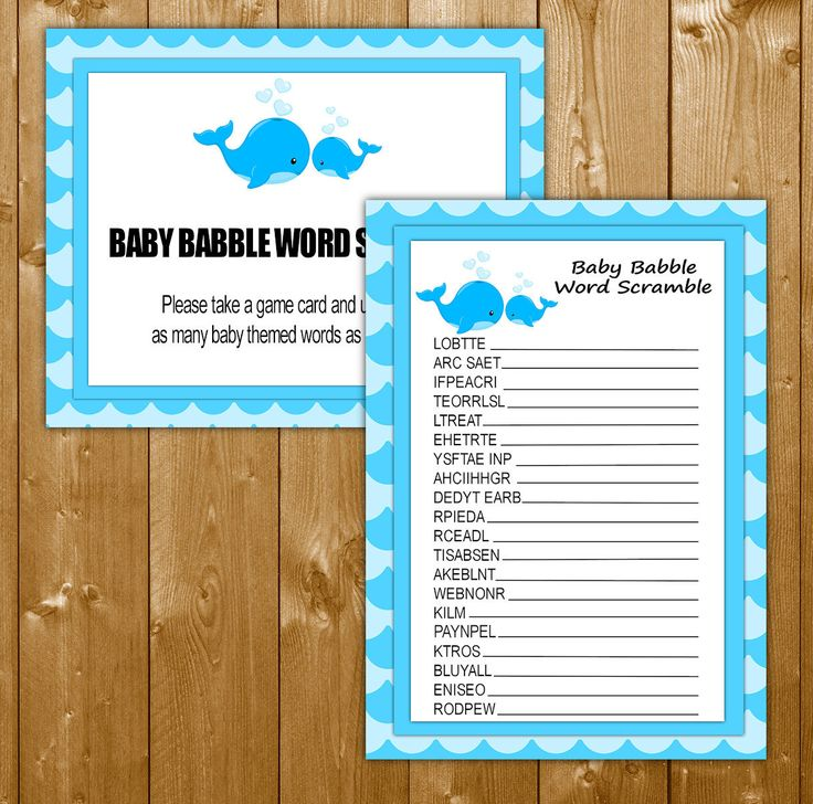 Word Scramble Baby Shower Games Whale Blue, Shower Games in Blue, Baby Babble Game, Printable, Instant Download