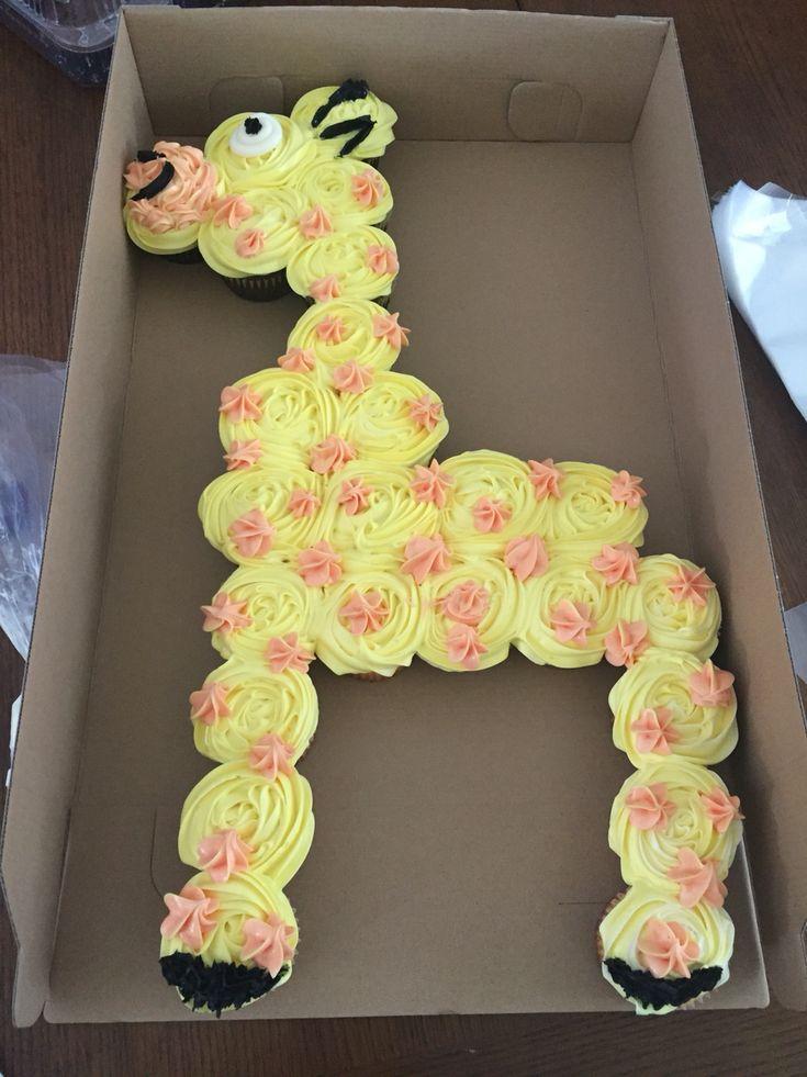 Jungle theme baby shower- giraffe cupcake cake
