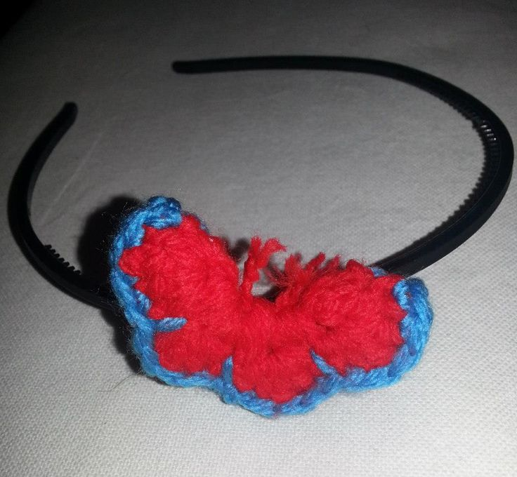 Hairband with a crochet butterfly.
