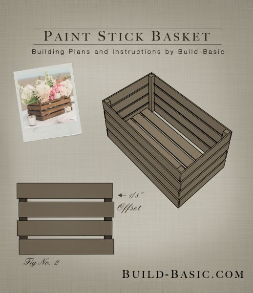 Build a Paint Stick Basket with paint stirrers, staples, glue and a little stain. Building Plans by www.build-basic.com