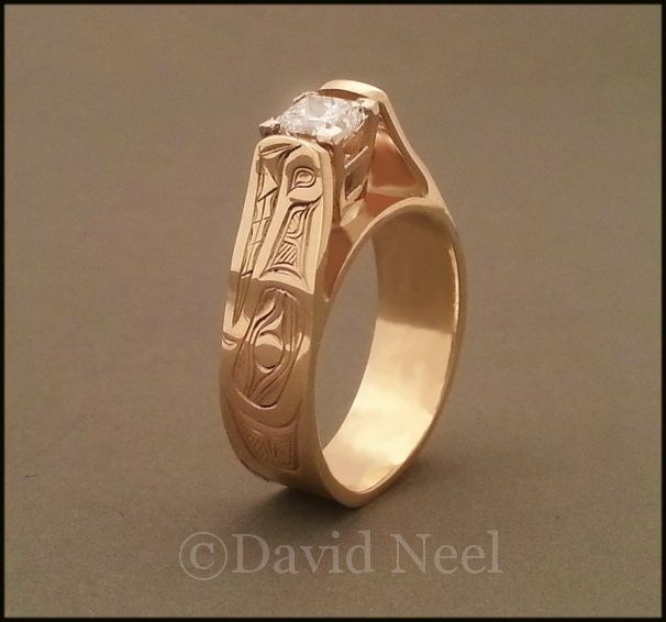 Someone is going to be happy: Wolf Ring, 14K gold with a 3/4 carat diamond.   #northwestIndianArt #firstNationsArt #nativeArt #davidNeel