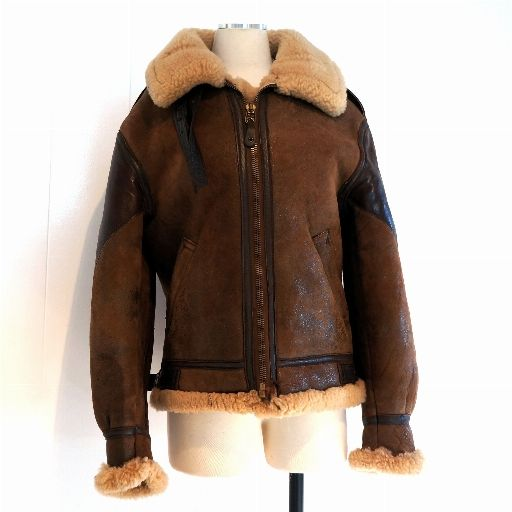 B-3 Jacket Vintage Bomber Shearling Mens 36 Womens Med Brown Distressed Sheepskin Leather Ironside Patch Avirex aka Cockpit Made in USA