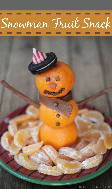 Snowman Fruit Snack - A fun winter snack or fruit platter for Christmas morning via momendeavors.com