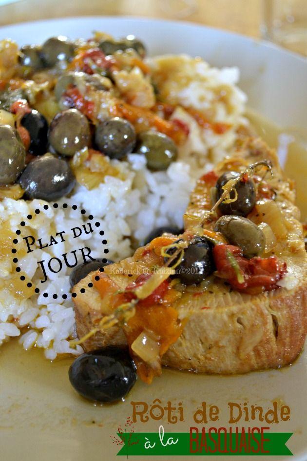 Recette du roti de dinde à la basquaise, poivrons, olives du jardin, tomates confites, du soleil pour un plat du jour Bistrot - Kaderick en ...