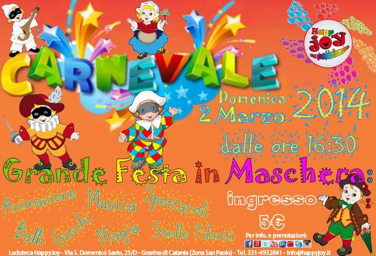 La più bella Festa di Carnevale in Ludoteca per tutti i bimbi in Maschera!!!  Vi aspettiamo Domenica 2 Marzo 2014 dalle ore 16:30 , per festeggiare tutti insieme con Animazione, Musica, Giochi, Spettacoli, Balli, Magia e tante tantissime Stelle Filanti...  Il Divertimento è assicurato!!!  Costo di partecipazione: 5 €  Per info. e prenotazioni: tel. 331-4932841 - info@happyjoy.it - www.happyjoy.it