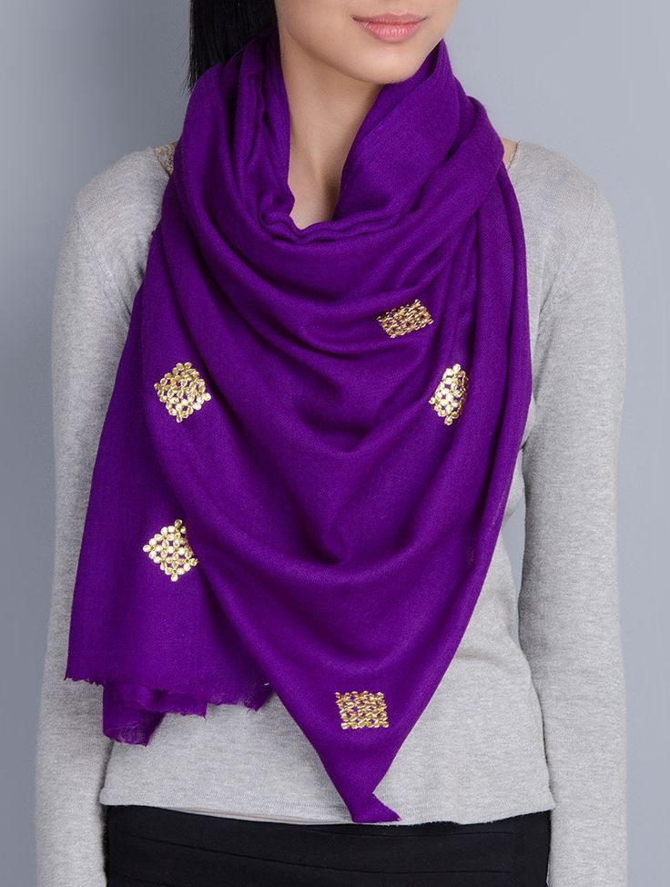 Buy Purple Cashmere Wool Gota Patti Hand Embellished Stole Scarves & Stoles…