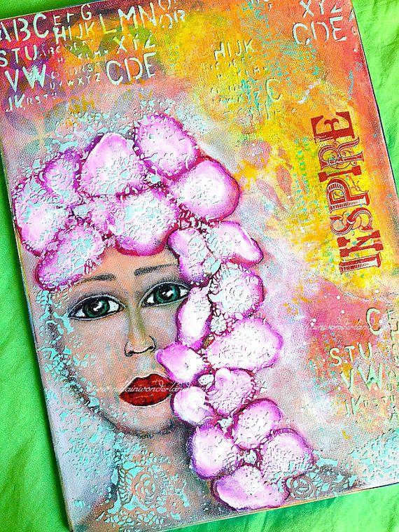Original Mixed Media Painting Girl with by NikaInWonderland