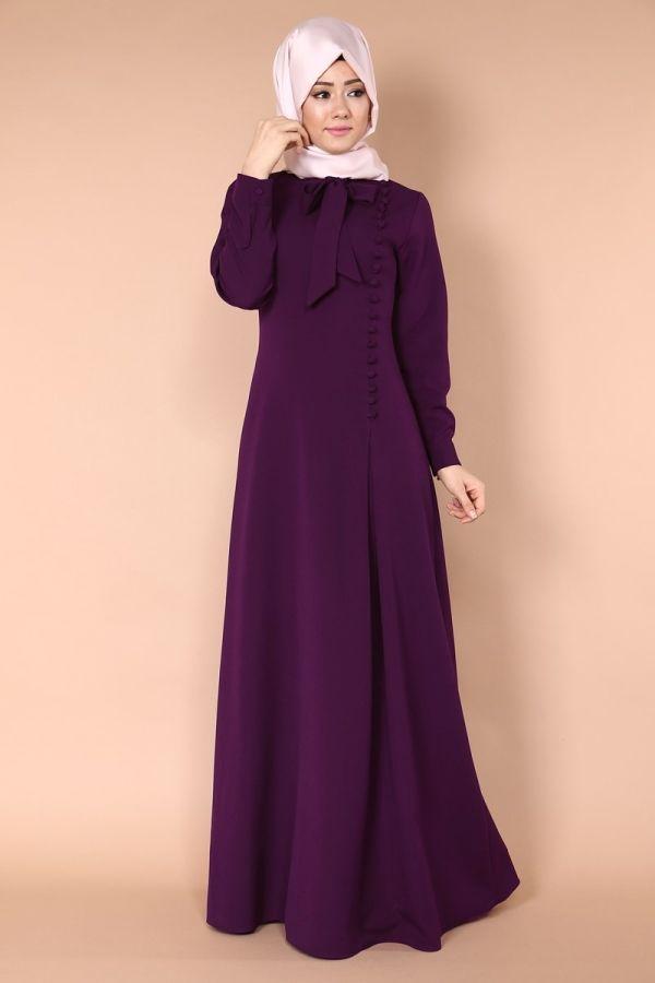 Yandan Aksesuar Düğmeli Fularlı Elbise MSW8053