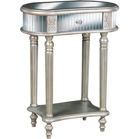 Oval Mirrored Accent Table, Silver