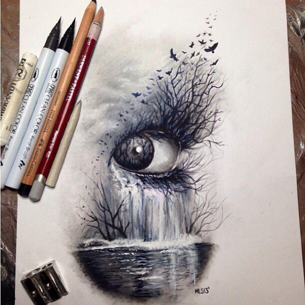 Dark nature, eye #art #sketch #drawing colored pencils