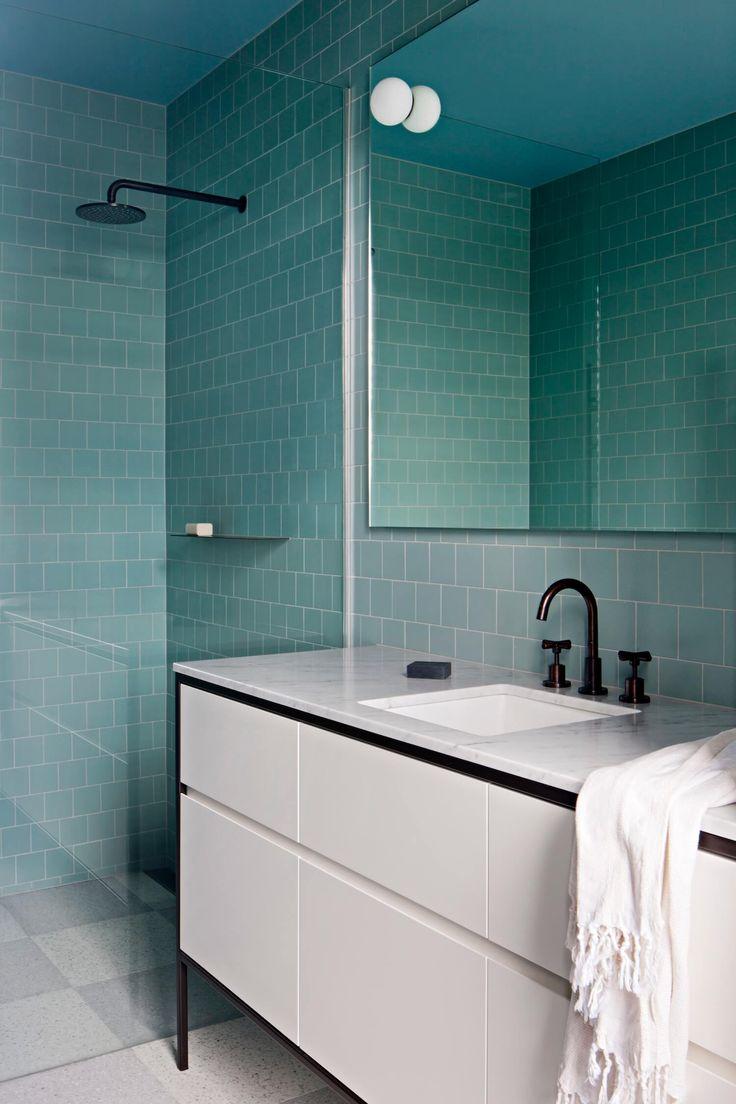 blue tiles, white bathroom