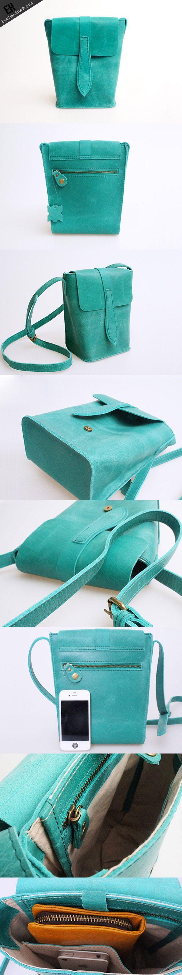 Handmade vintage leather basket green crossbody Shoulder Bag for girl | EverHandmade