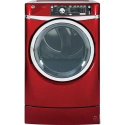 Cheap GE RightHeight Design Series GFDR485EFRR 28 Inch 8.3 cu. ft. Electric Dryer with 12 Dry Cycles, 5 Temperature Selections, Steam, RightHeight Built In Pedestal, Detangle Assist, eDry and eMonitor, Speed Dry, Dewrinkle, Extended Tumble and HE Sensor Dry: Ru
