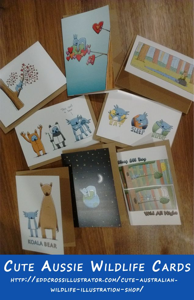In addition to my Christmas Greeting Cards, there is also the option of greeting cards featuring my range of cute illustrated Australian Wildlife designs that feature koalas, possums and long necked turtles.