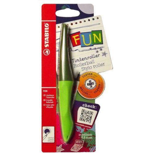 STABILO FUN Rollerball Ergonomic Pen 0.5 mm Green Unisex Boys Girls (9197-1)