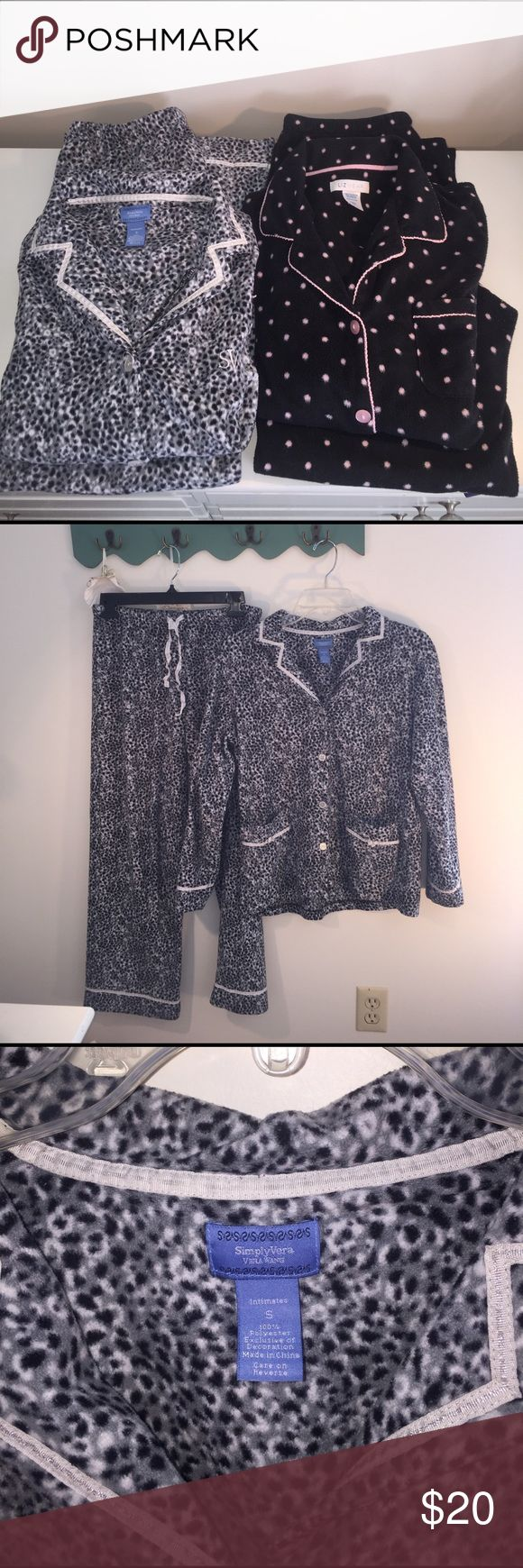 Pajama Bundle Small 2 Pair Designer Super Cozy Pajama Bundle Small 2 Pair Designer Super Cozy & Warm 100% Polyester Fleece Feel. Grey & Black Animal Print with Ribbon Detail By Simply Vera Vera Wang & Black & Pink polka dot by Liz Wear Simply Vera Vera Wang Intimates & Sleepwear Pajamas