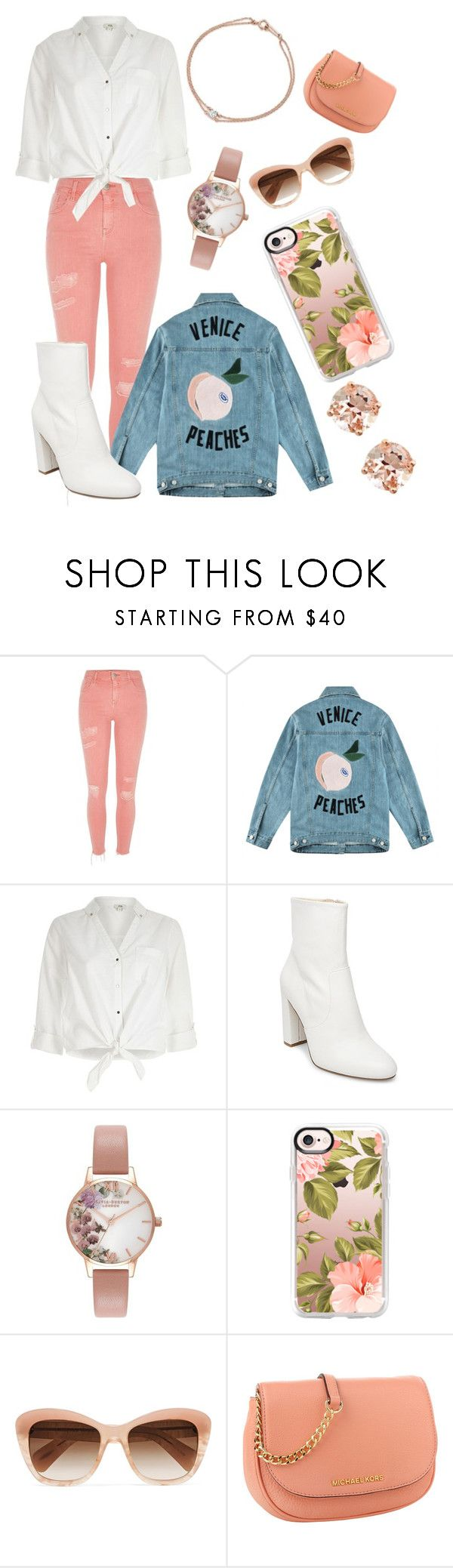 """""""peach (pastel)"""" by elise-the-emo-kitty ❤ liked on Polyvore featuring River Island, Être Cécile, Steve Madden, Olivia Burton, Casetify, Oliver Peoples and Anika and August"""