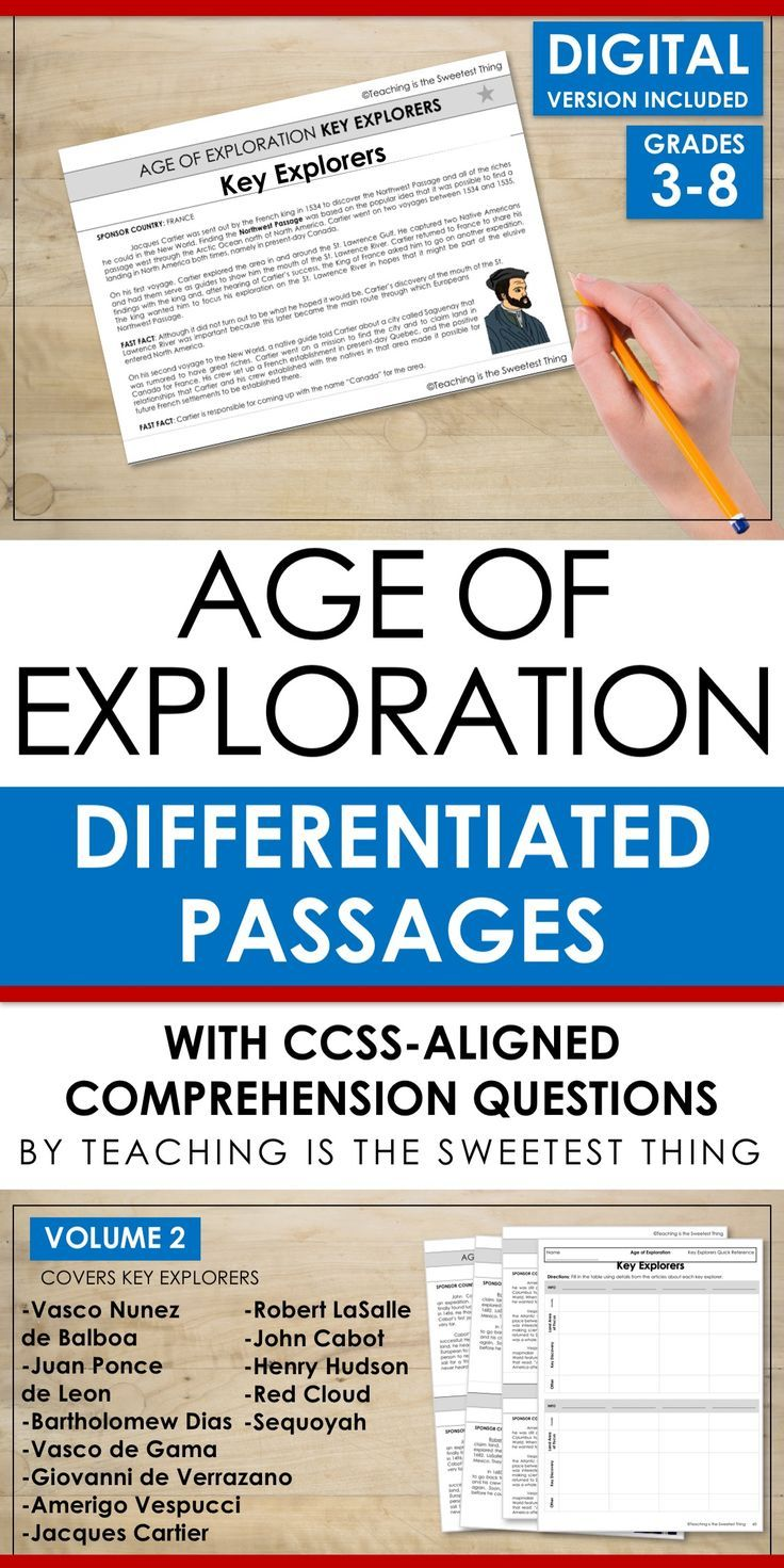 Differentiating instruction, integrating Social Studies into reading, AND addressing standards like Common Core is daunting. But this passage set knocks out all three at once! Plus it includes comprehension questions and could easily go with other activities or projects you've already planned! A must-have resource for teaching about the Age of Exploration.
