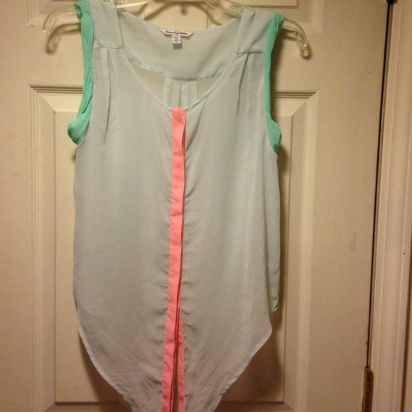Sleeveless mint green top Really cute sleeveless sheer top.  Mint green with darker green around the sleeve openings. And coral down the front. American Eagle Outfitters Tops