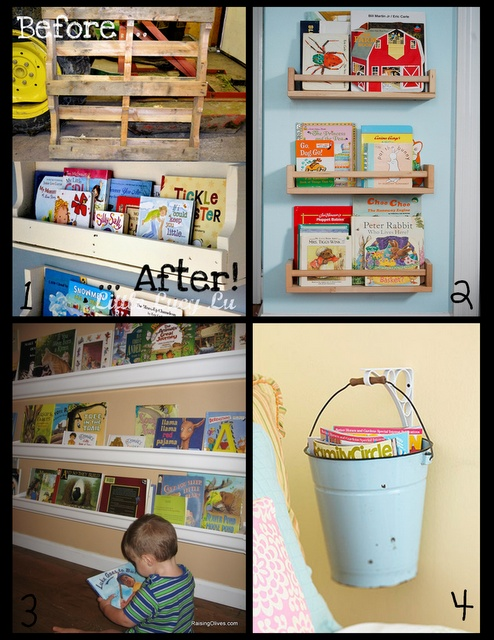 Using Pallets Spice Racks Gutters And Buckets For Books
