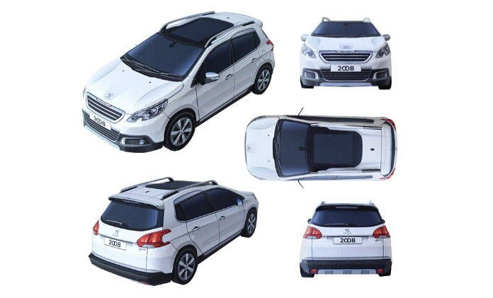 This vehicle paper model is a Peugeot 2008, a mini crossover produced by the French manufacturer Peugeot, the papercraft is created by Hitoshi Shinozaki. T