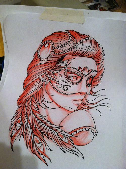 Masquerade girl. Tattoo flash/ idea.