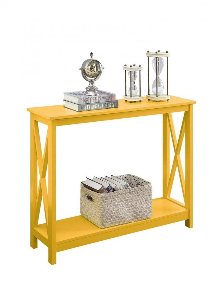 Hallway Console Table Yellow Wood Modern Accent Living Room