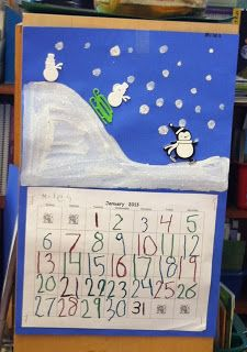 Mrs. Byrd's Learning Tree - Monthly Calendar: Cute idea for a seasonal art project for your January kid made calendar.