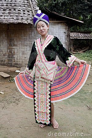 Asian woman Laos in traditional clothes, Hmong