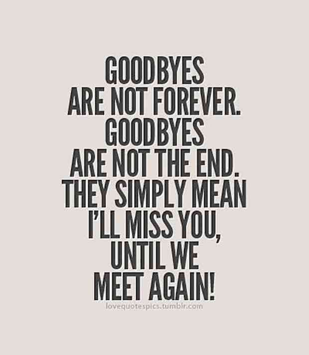 """Goodbyes are not forever. Goodbyes are not the end. They simply mean I'll miss you until we meet again!"""