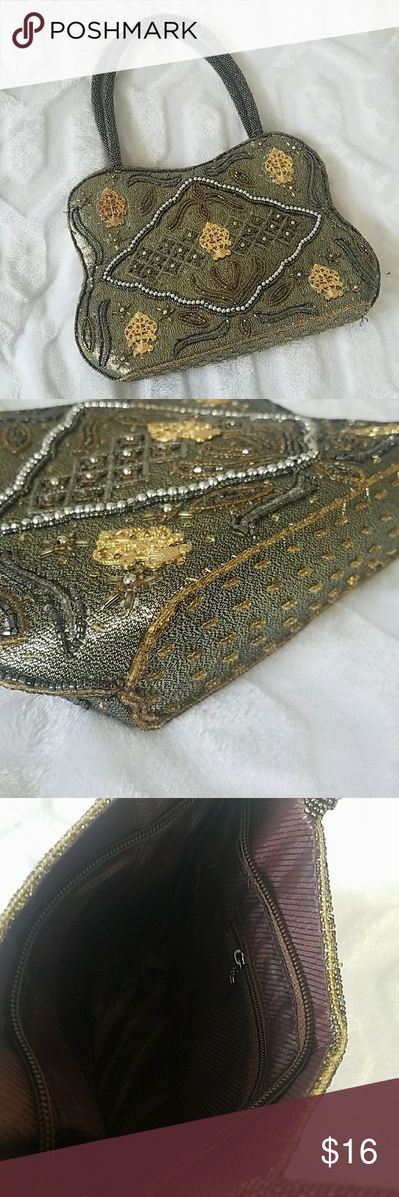 "New, Stunning Beaded Purse/Handbag NWOT, Measures about 8.5""W x 7""H Beautiful olive green/sage/gold beaded purse with gold accents and grey/brown/silver beaded. Beaded handles that extend about 6.5"" high. Bags Mini Bags"