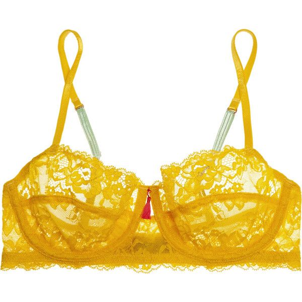 Elle Macpherson Body Zest stretch-lace balconette bra (4,105 INR) ❤ liked on Polyvore featuring intimates, bras, lingerie, underwear, yellow, lingerie bra, soft cup bra, yellow bra, yellow lingerie and stretch lace lingerie