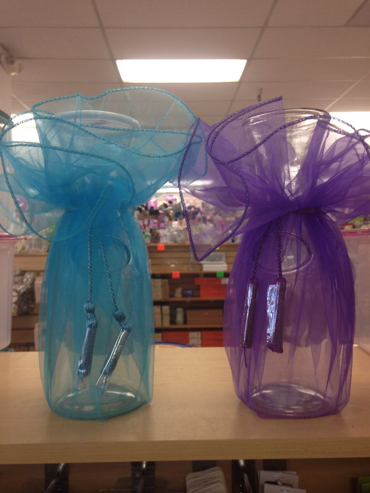 Bridal shower centerpieces purple and turquoise tulle for Clear wine bottle centerpieces
