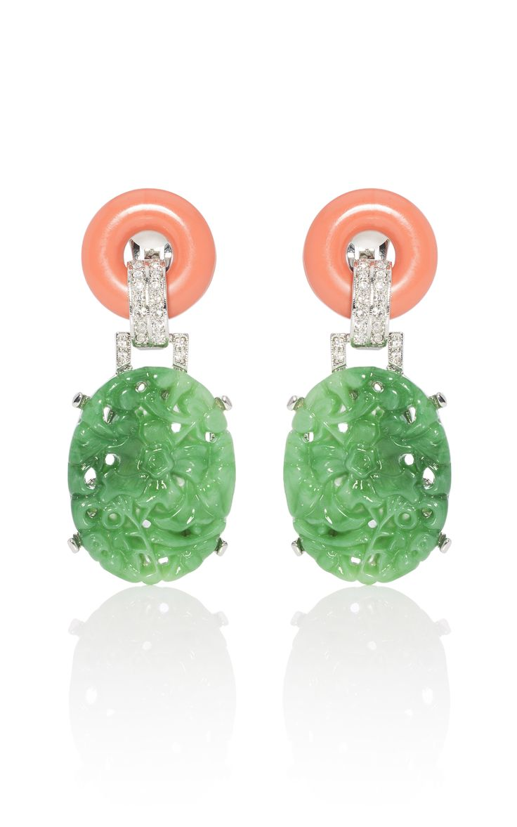Love this color combo: Kenneth Jay Lane Carved Jade Earrings at Moda Operandi