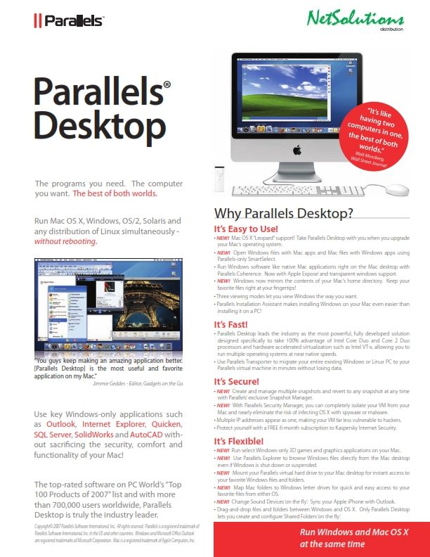 PT. #Netsolutions Infonet #Parallels Desktop The programs you need.  The computer you want - The best of both worlds