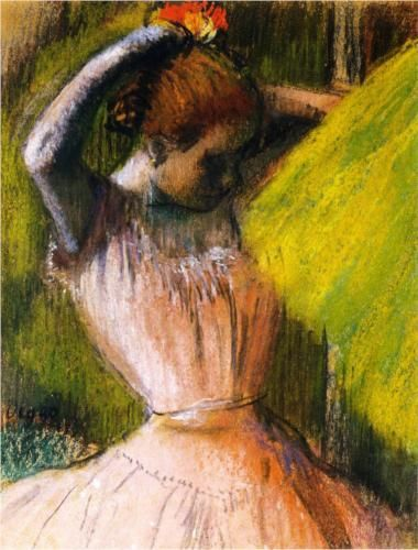 Dancer arranging her hair - Edgar Degas