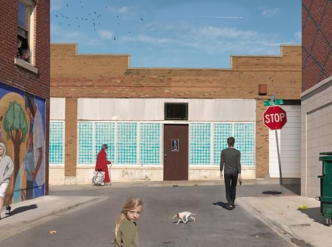 Julie Blackmon, Olive & Market Street, 2012. Image courtesy of The Photographers' Gallery. Click above to see larger image.