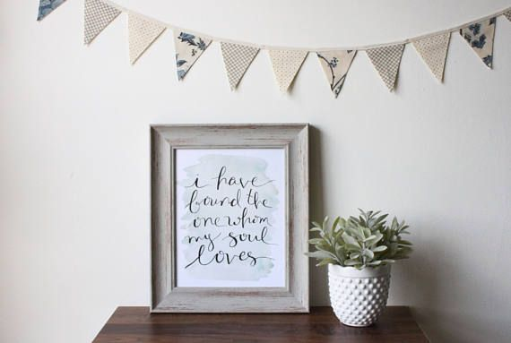 """French Country Cottage Mini Fabric Bunting and """"I Have Found the One Whom My Soul Loves"""" Print by The Evergreen Collective"""