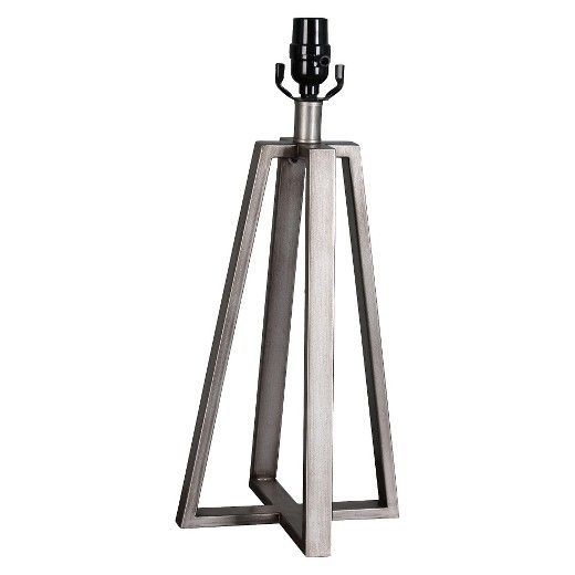 Brighten up any room in striking style with the Linear Brushed Aged Silver Lamp Base from Threshold™. The bold lines and angled corners bring a modern style that easily blends in with any existing decor, whether you keep the look subtle with a white lamp shade or you dress this large lamp up with a bold printed shade.
