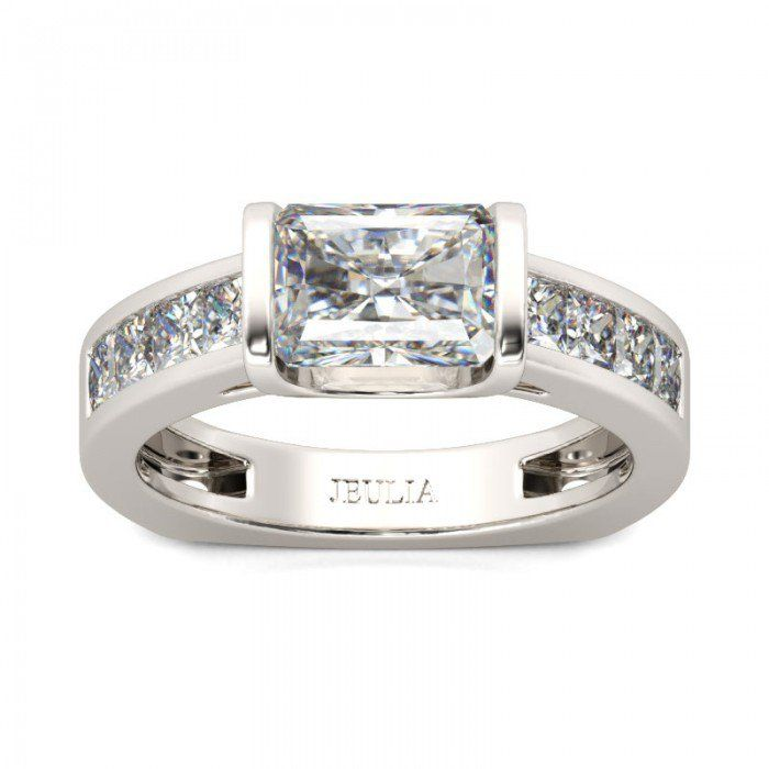Radiant Cut Created White Sapphire Engagement Ring