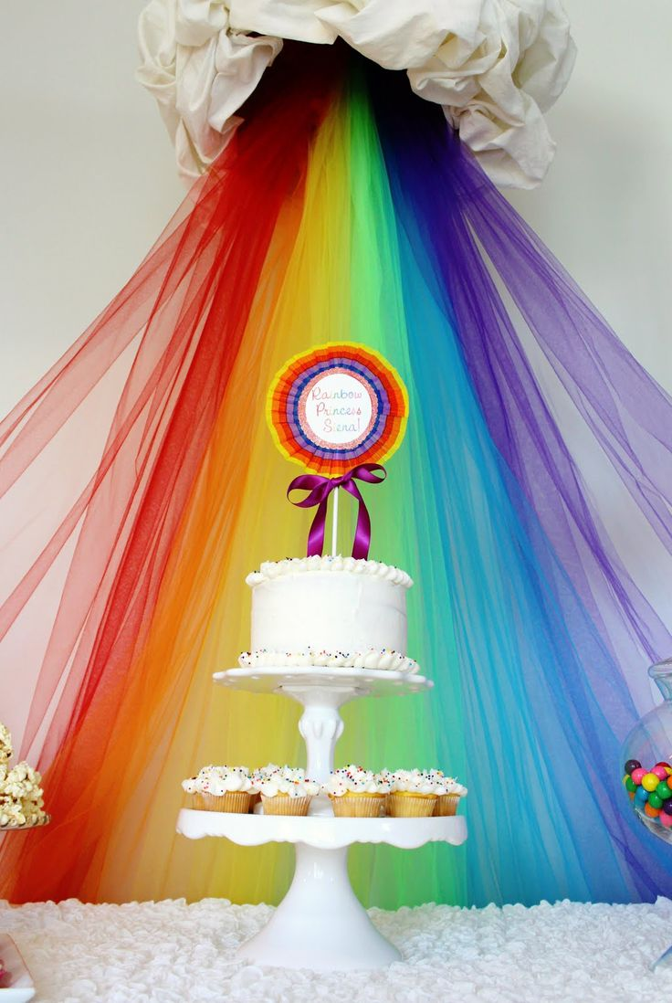 Tulle Rainbow Backdrop: Birthday Parties, Rainbows Tulle, Tulle Rainbows, Rainbows Cakes, Rainbows Parties, Parties Ideas, Backdrops Ideas, Girls Rooms, Tulle Backdrops