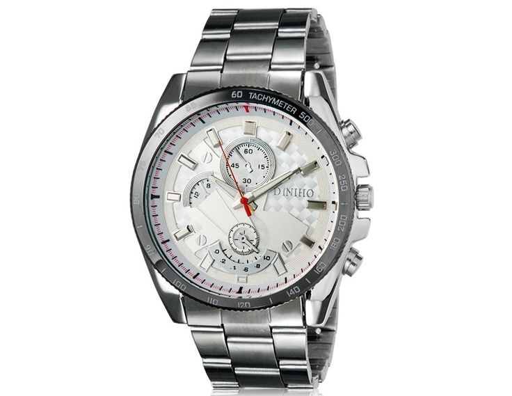 Stylish Universal Design Analog Wrist Watch with Stainless Steel Strap Suit for Men