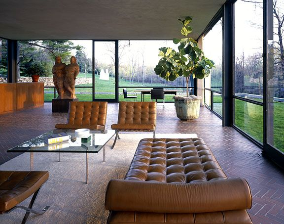 Mies van der Rohe furniture serves as the primary décor of choice for the Philip Johnson Glass House