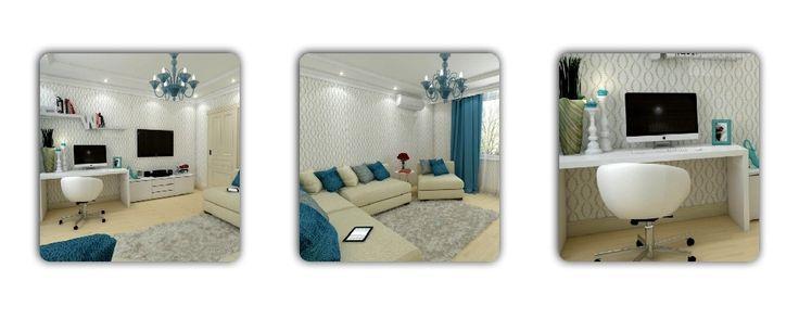 """Дизайн И 155 разработан в современным стиле. Одной из """"изюминок"""" дизайна трехкомнатной квартиры И 155 стало активное внедрение бирюзового текстиля. Благодаря удачному комбинированию светлых обоев такие бирюзовые вставки."""