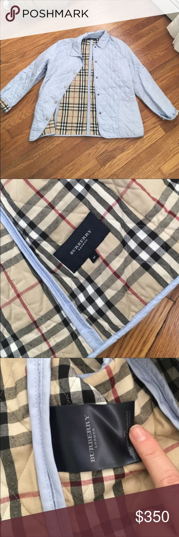 Burberry Quilted Light Blue Jacket 🎉one hour sale Authentic. Great condition. Size Medium. Burberry Jackets & Coats