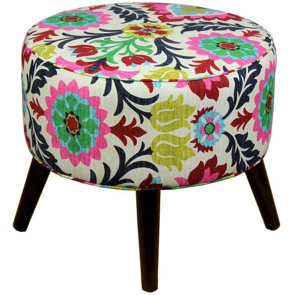 Round Cone Leg Ottoman found on Polyvore featuring home, furniture, ottomans, santa maria flower, patterned ottoman, upholstered footstool, fabric furniture, upholstered furniture and floral furniture