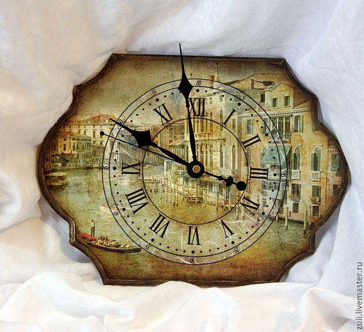 """Купить Часы настенные винтажные """"Венеция"""" - часы настенные, Часы настенные декупаж"""