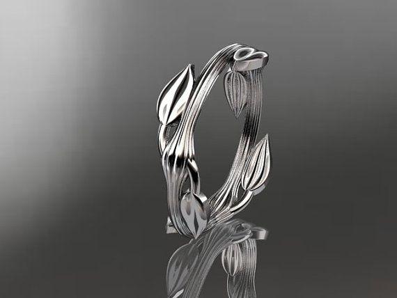 14kt  white gold  leaf and vine wedding by anjaysdesigns on Etsy, $395.00